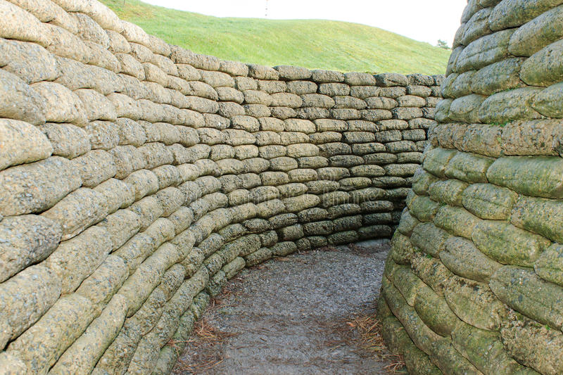 The trenches on battlefield of Vimy ridge France. royalty free stock photo