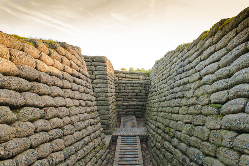 The trenches on battlefield of Vimy ridge France. stock images