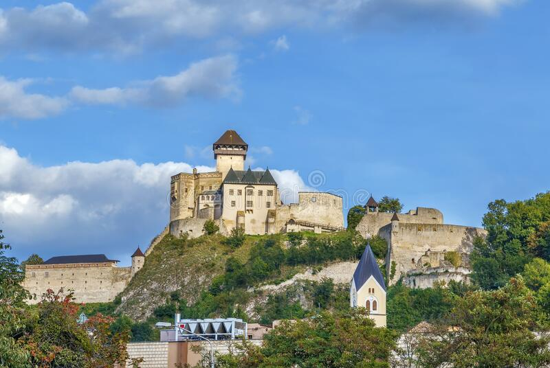 Trencin Castle, Slovakia stock photo