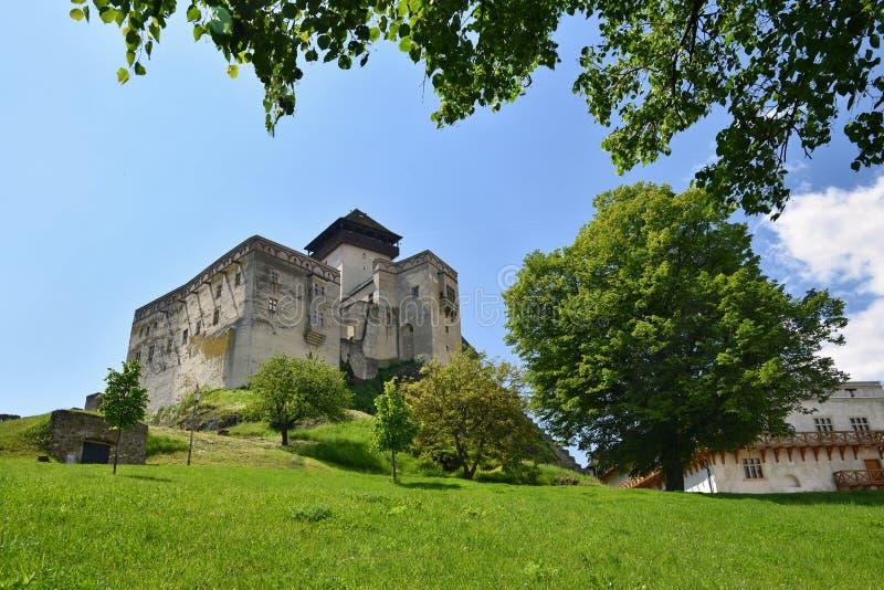 Trencin kasztel, słowak republika Piękna stara architektura fotografia royalty free