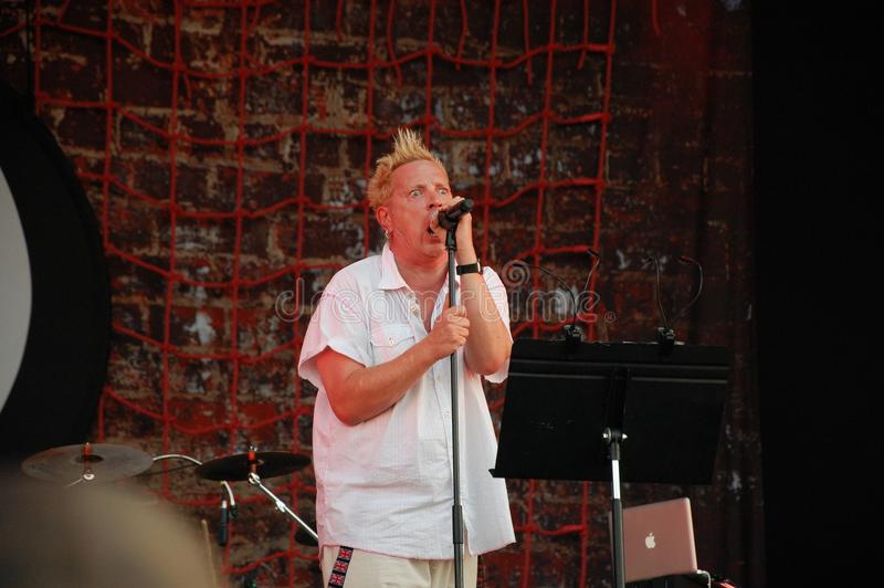 Trencin, Slovakia - July 9, 2011: Johnny Rotten performing live with Public Image limited PIL, ex Sex Pistols at Pohoda Festival royalty free stock photography
