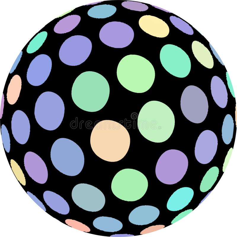 Mosaic sphere 3d macro. Bright green lilac dots pattern on black sphere. stock illustration