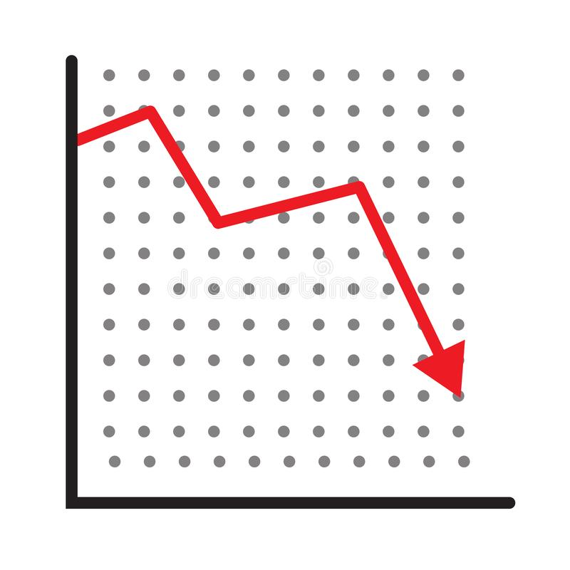 Trend down graph icon. stock icon on white background. flat style. financial market crash icon for your web site design, logo, app stock photos