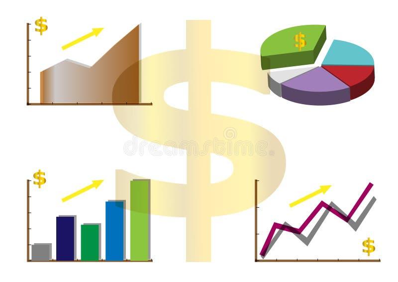Trend för affärsgraf upp, tillväxtvinst, finansiell bra status, vektor stock illustrationer