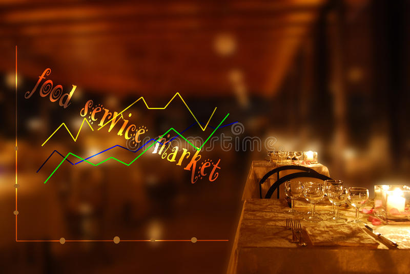 Trend of the food service market. Economic and financial trend of the food service market royalty free stock photography