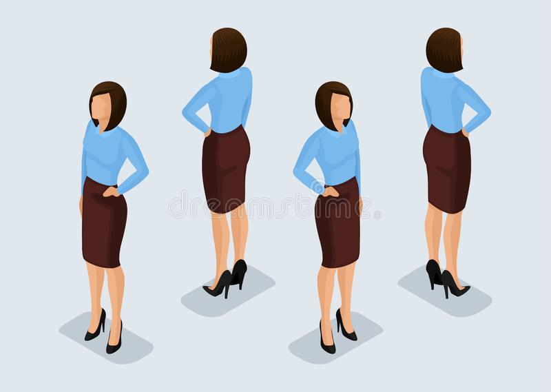 Trend Isometric People Set 6, 3D business woman in business suits, people's gestures, a front view and rear view isolated on a. Light background. Vector vector illustration
