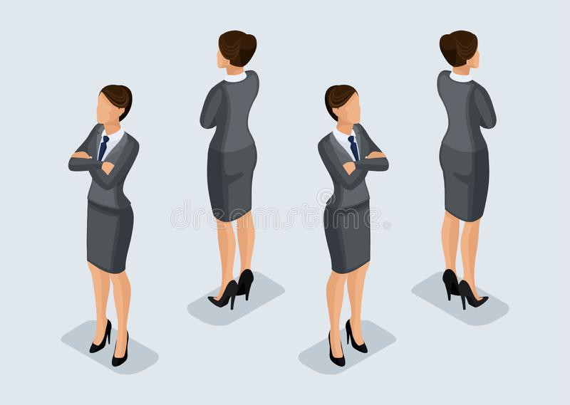 Trend Isometric People Set 5, 3D business woman in business suits, people's gestures, a front view and rear view isolated on a. Light background. Vector vector illustration