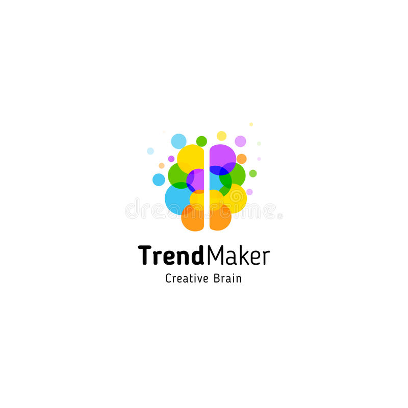 Trend Maker abstract vector logo. Isolated colorful circles bubbles brain shape. Genius creative mind royalty free illustration