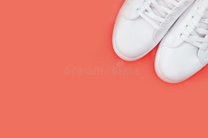 Trend photography on the theme of the new color, sport shoes on background stock image