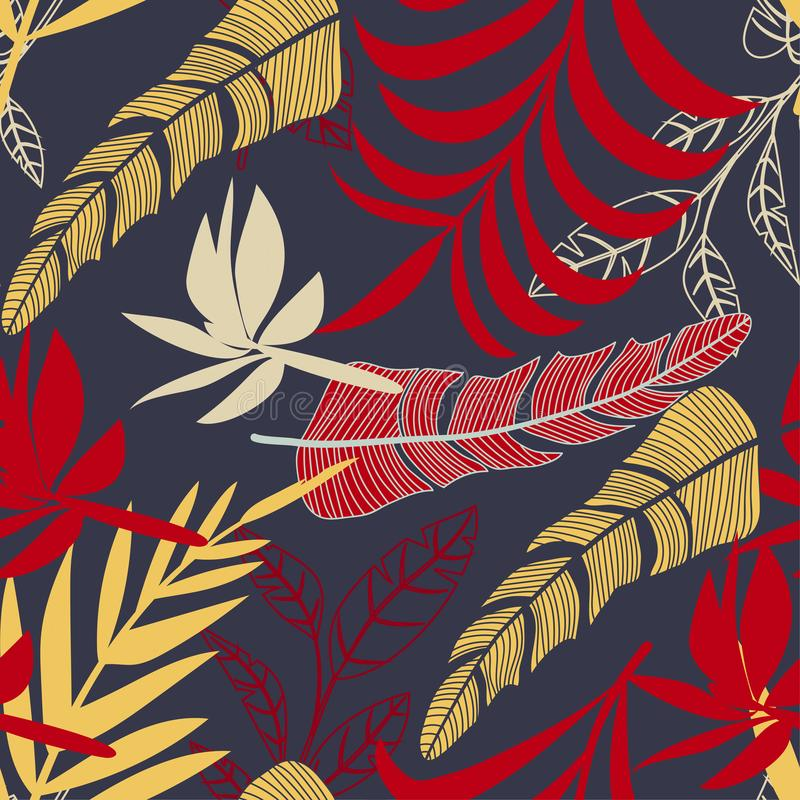 Trend seamless pattern with bright tropical leaves and plants on a gray background. Vector design. Jungle print. Floral background stock illustration