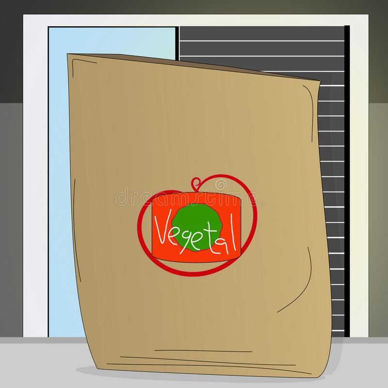 Trend towards cardboard bags. Shopping bag of cardboard or paper with fresh vegetables next to a window with shutter in the home stock illustration
