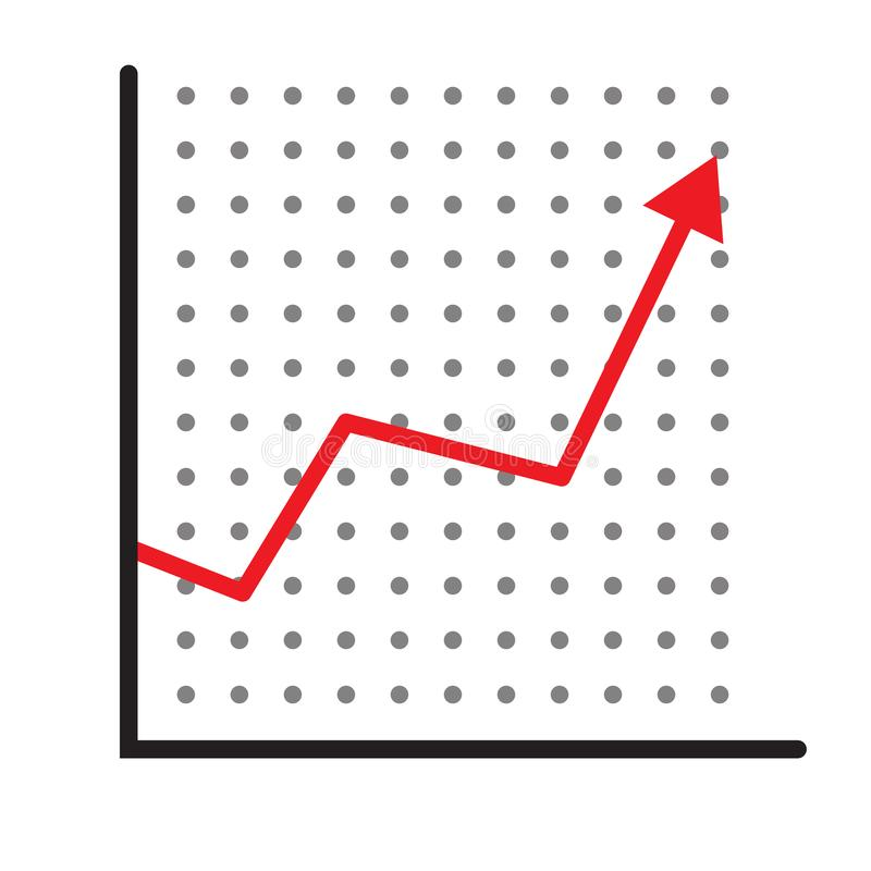 Trend up graph icon. profits sign on white background. flat style. stock sign. growth progress red arrow icon for your web site. Design, logo, app, UI. line royalty free illustration
