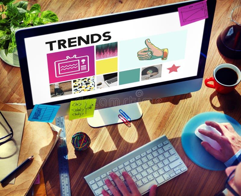 Trenddesignmode som marknadsför modernt stilbegrepp arkivfoto