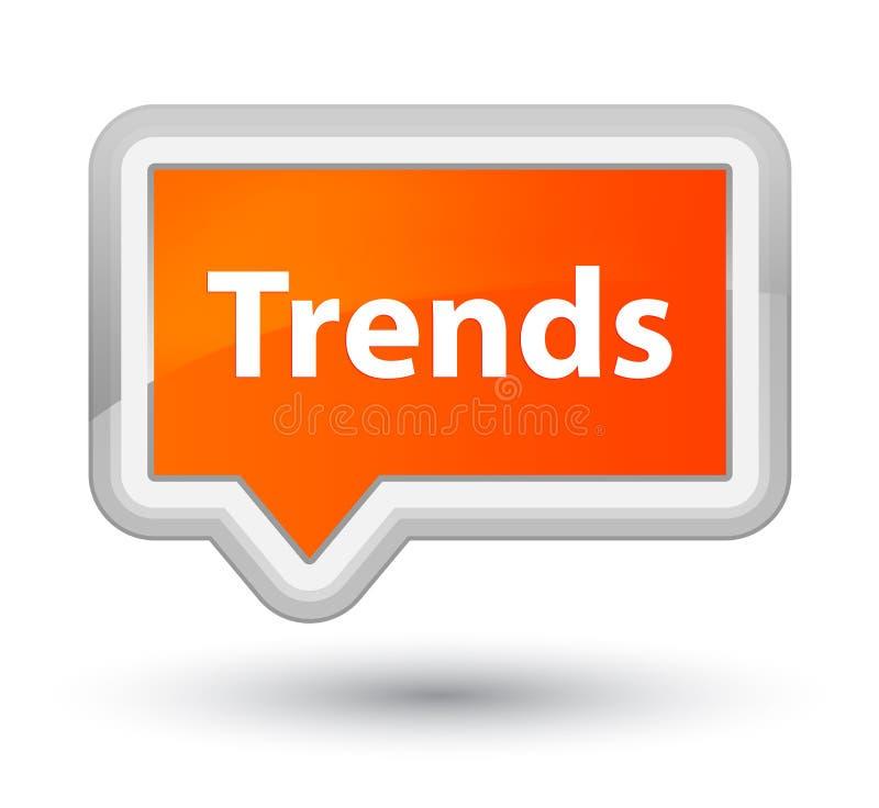 Trender grundar den orange banerknappen stock illustrationer