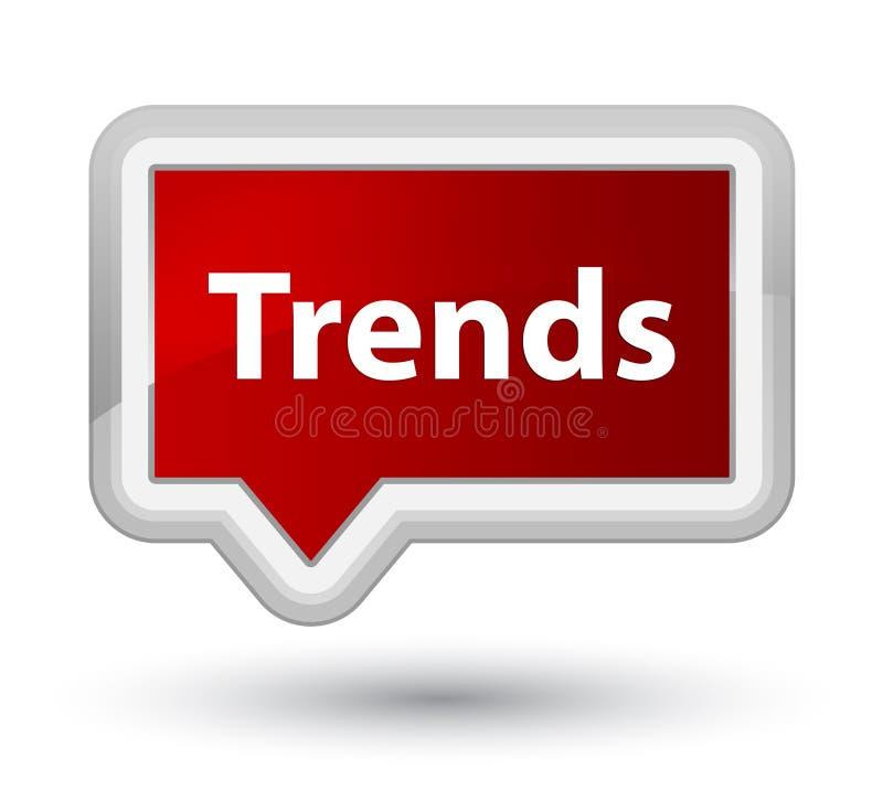 Trender grundar den röda banerknappen stock illustrationer