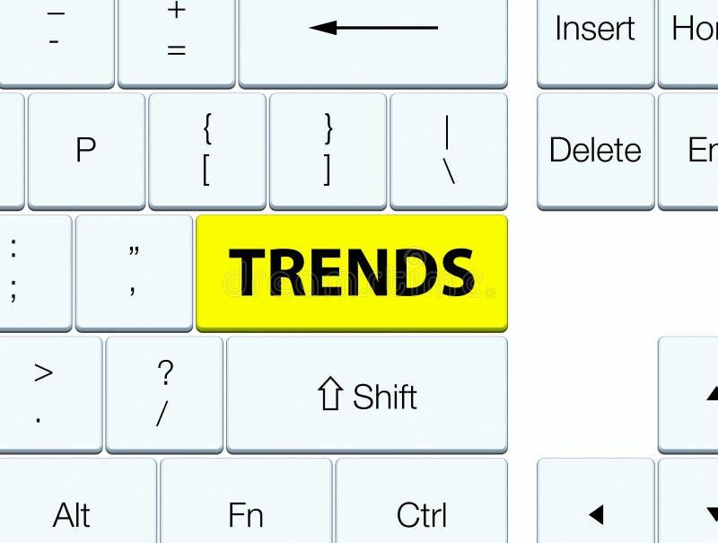 Trender gulnar tangentbordknappen vektor illustrationer