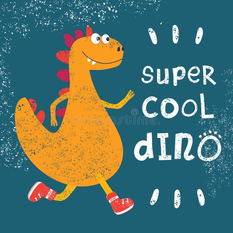 Trendig grungetextur eller tryck för barns design Kalla killekörningar för dinosaurie i trendiga gymnastikskor också vektor för c vektor illustrationer