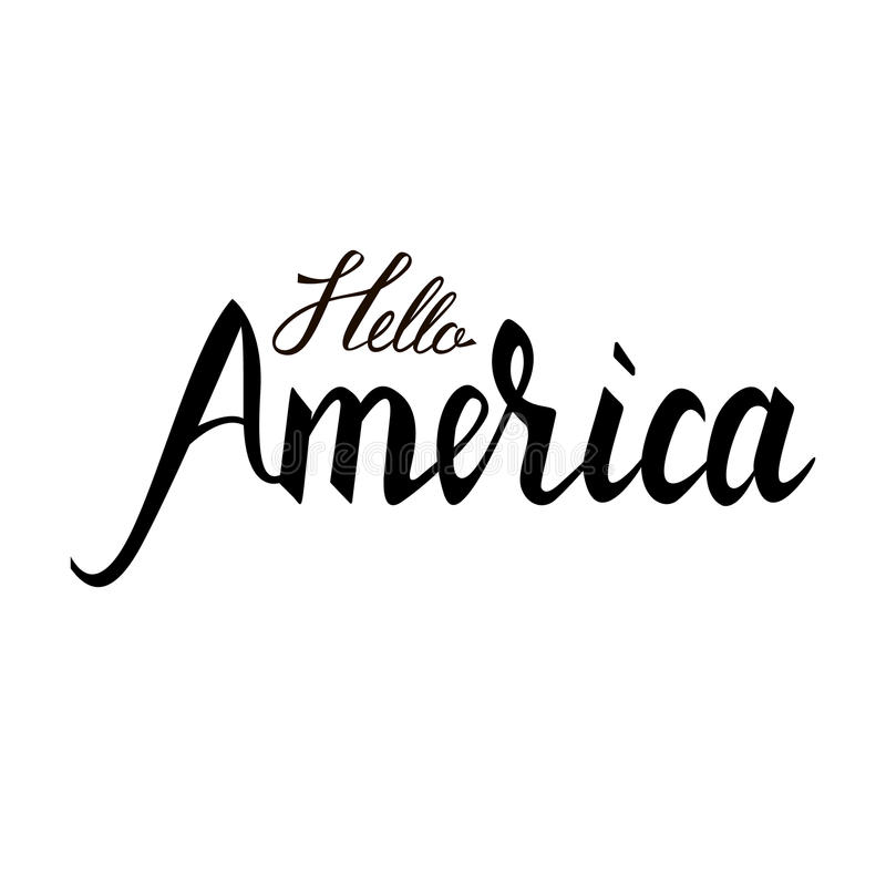 Trendig inskriftborste Hello Amerika stock illustrationer