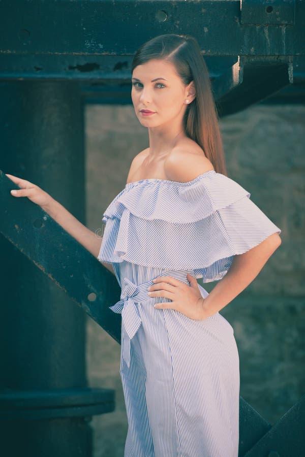 Trendig klädd kvinna med utomhus- långt brunt hår fotografering för bildbyråer