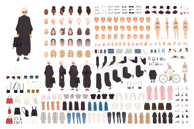 Trendig konstruktörsats för ung kvinna eller avatargenerator Ställ in av kroppsdelar, gester, stilfull kläder och vektor illustrationer