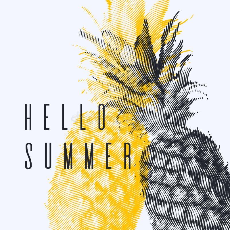 Trendig modern affisch med ananas, Hello sommar Tropisk frukt på vitbakgrund stock illustrationer
