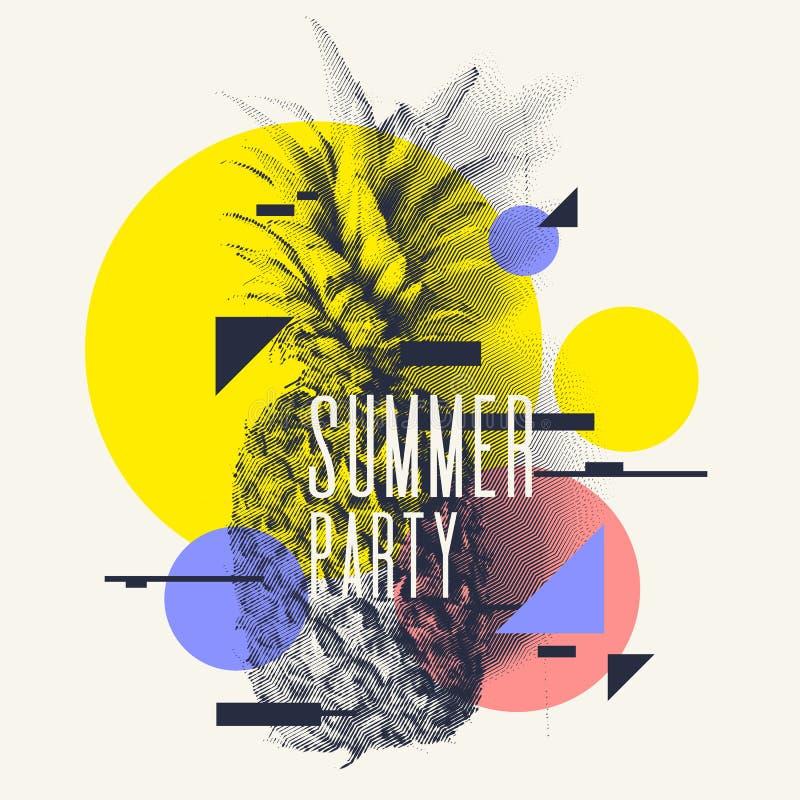 Trendig modern affisch med ananas, sommarparti vektor illustrationer