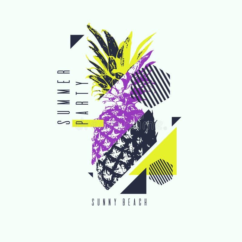 Trendig modern affisch med ananas, sommarparti stock illustrationer
