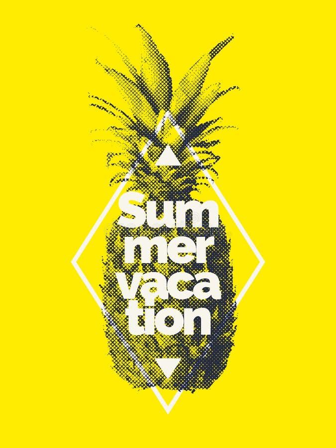 Trendig modern affisch med ananas, sommarsemester stock illustrationer