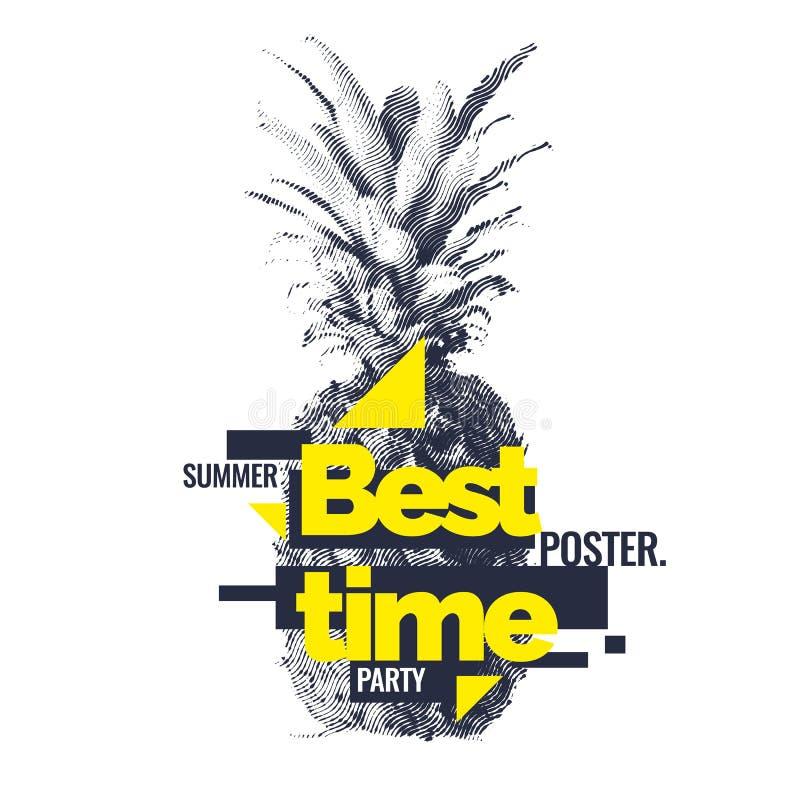 Trendig modern affisch med ananas, sommartid stock illustrationer