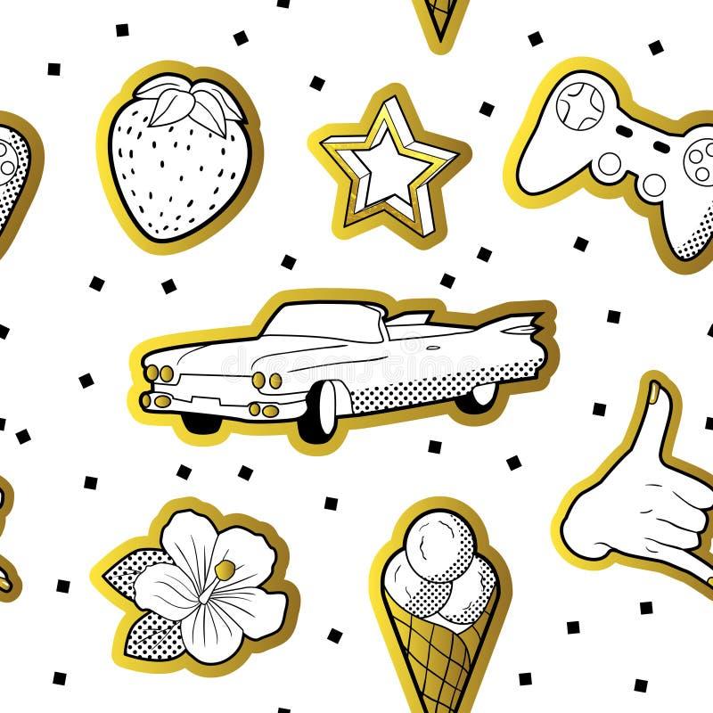 Trendig sömlös modell i popet Art Style med guld- prickiga beståndsdelar Tygmodebakgrund 80s-90s med stjärnor stock illustrationer