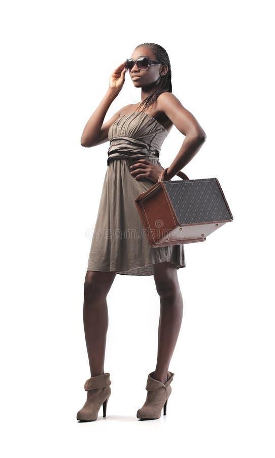 Trendig svart flicka royaltyfri fotografi