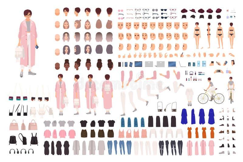 Trendig ung flickaskapelseuppsättning eller DIY-sats Samlingen av kroppsdelar, moderiktig kläder, stilfull tillbehör, vänder mot stock illustrationer