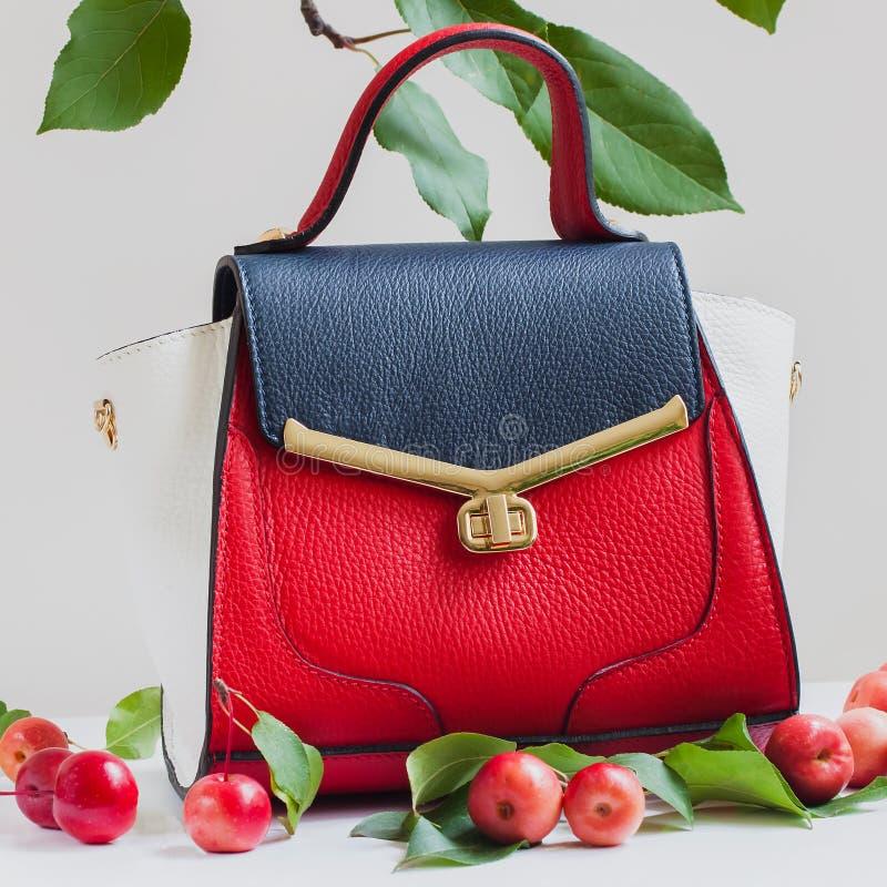 Trendig women& x27; s-handväska från tre färger av hudnärbilden, ljus bakgrund som dekoreras med röda äpplen royaltyfria foton