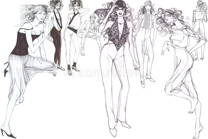 trendiga glamorösa modeller stock illustrationer