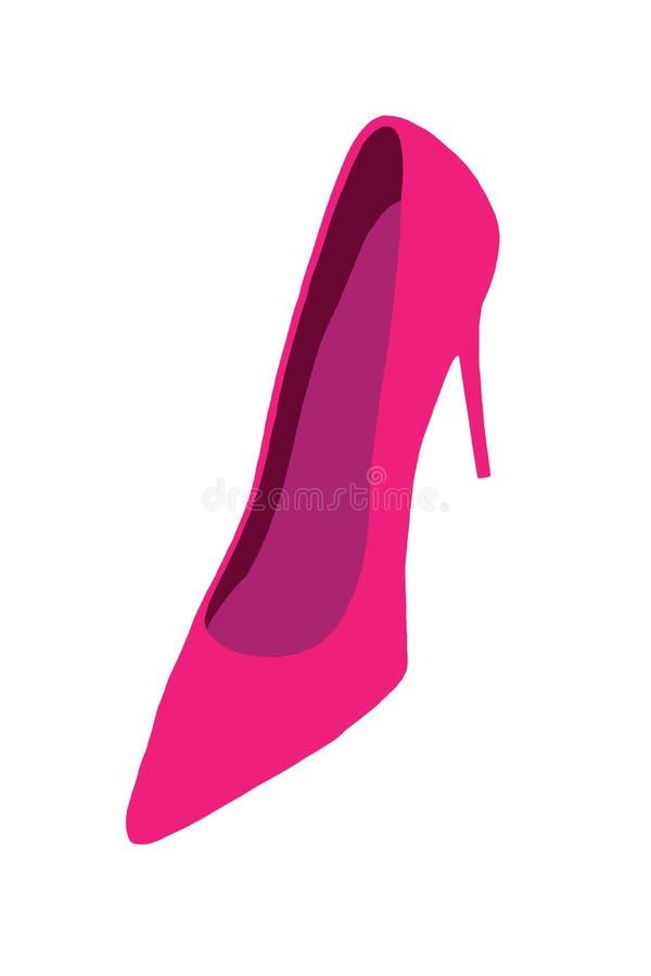 Trendiga kvinnliga höga häl En abstrakt röd elegant hög-heeled kvinnlig sko som isoleras på en vit bakgrund illustration royaltyfri illustrationer