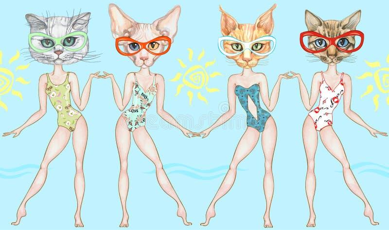 Trendiga strandflickor - katter i baddr?kter seamless kant vektor illustrationer