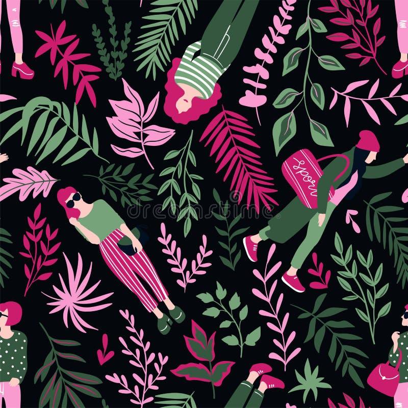 Trendiga unga kvinnor i tillfällig stil med tropiska sidor på den mörka bakgrunden Dragen stilfull sömlös modell för vektor hand vektor illustrationer