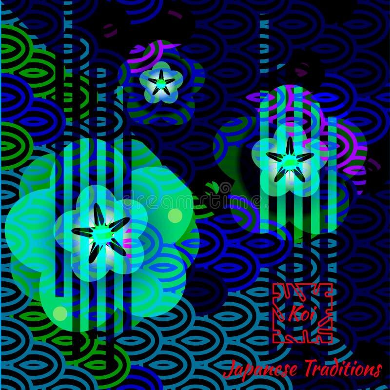 Trendigt konstkort med ljus traditionell japansk bevekelsegrund stock illustrationer