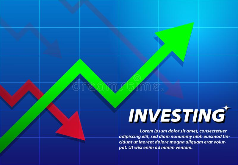 Trending Arrow up, investing background, vector stock illustration