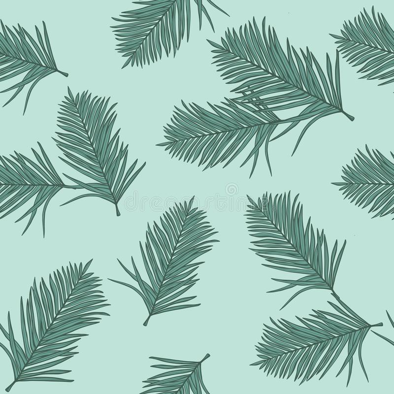 Trending seamless background with colorful tropical leaves and plants on green background. Vector design. Jungle print. Floral background. Printing and vector illustration