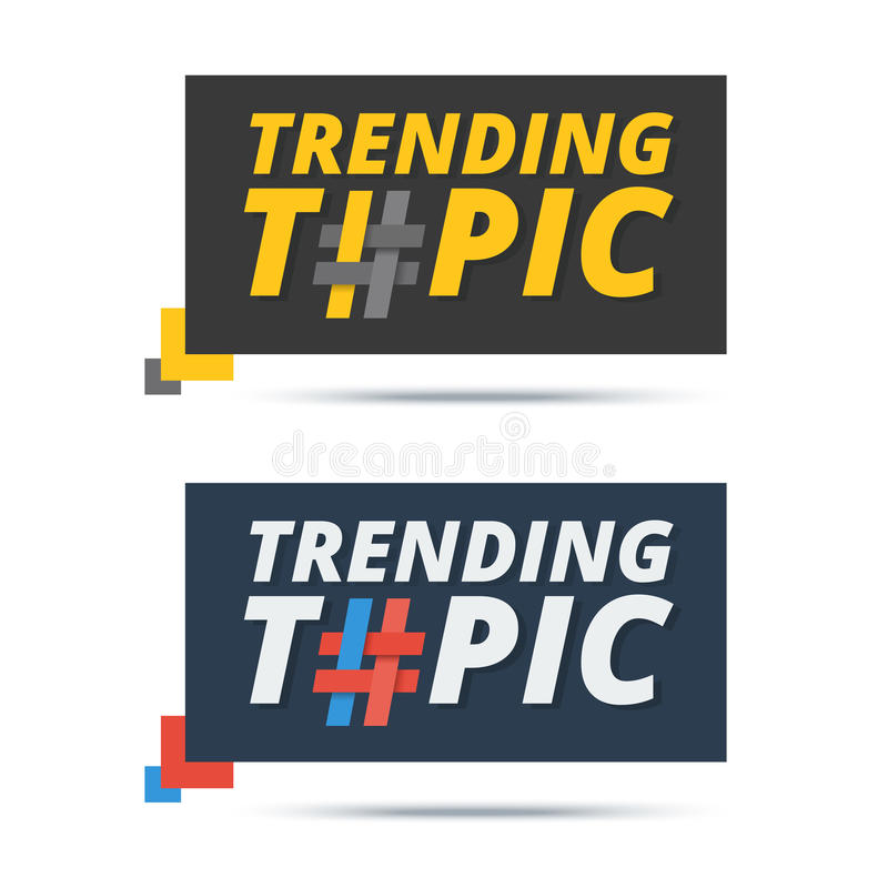 Trending topic banner with hashtag sign. Vector web icon design. For popular word or phrase mentioned by users in social media stock illustration