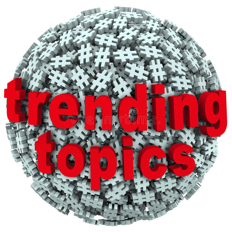 Trending Topics Hot Post Update Message Hash Tag Pound Symbols. The words Trending Topics on a ball or sphere of hash tags to illustrate hot news, buzz or trends stock illustration