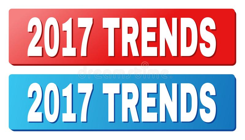 2017 TRENDS Caption on Blue and Red Rectangle Buttons. 2017 TRENDS text on rounded rectangle buttons. Designed with white caption with shadow and blue and red royalty free illustration