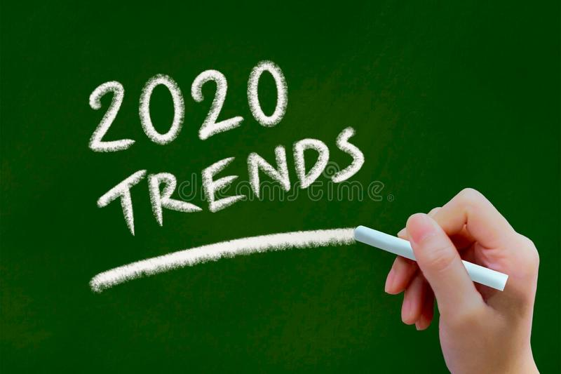 2020 trends chalk drawing on green chalkboard stock images