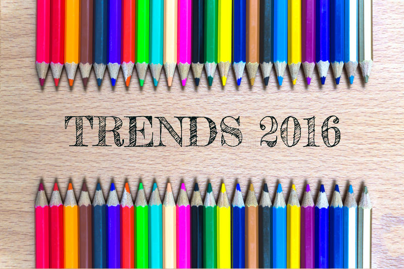 Trends 2016 on color pencil wood background / business concept.  royalty free stock photos