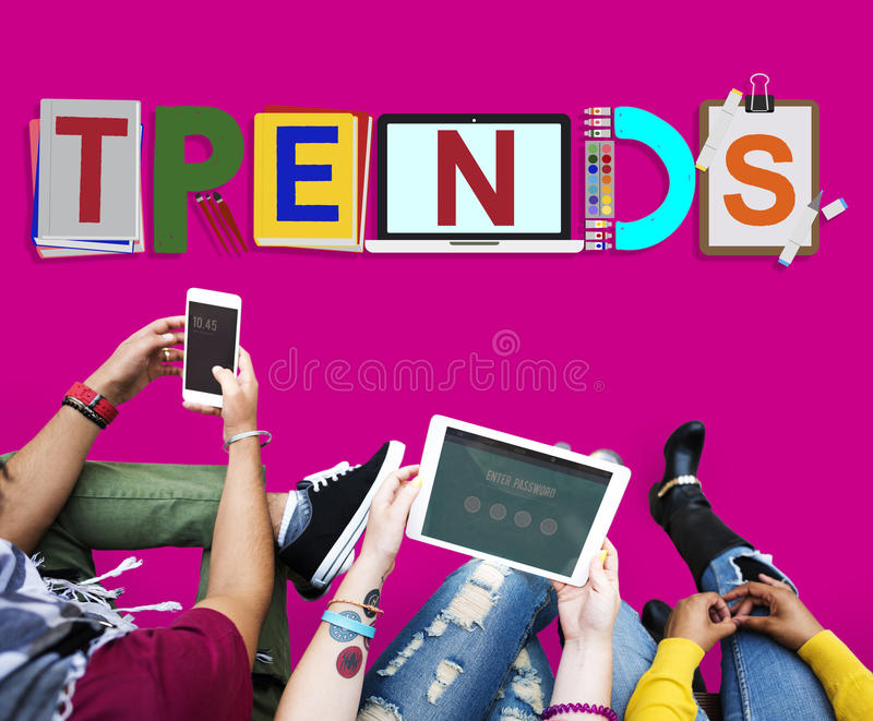 Trends Design Modern Trendy Fashion Concept stock images