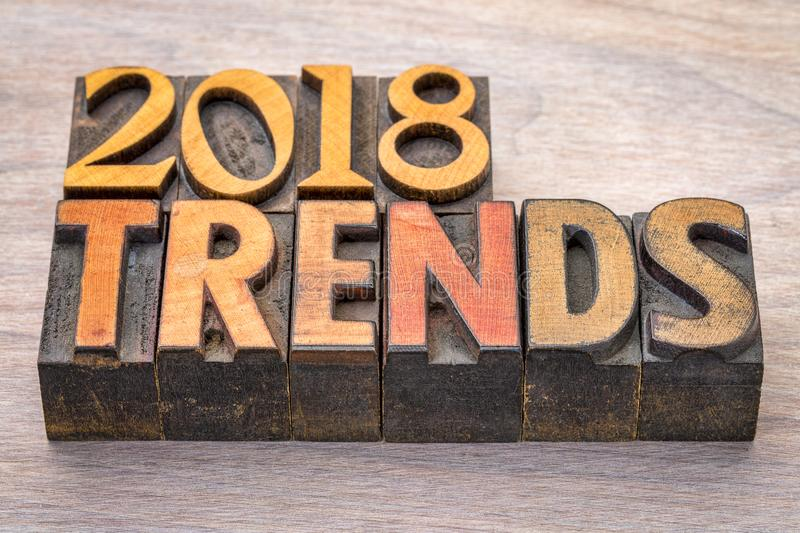 2018 trends in letterpress wood type. 2018 trends in vintage letterpress wood type against grained wood royalty free stock photography