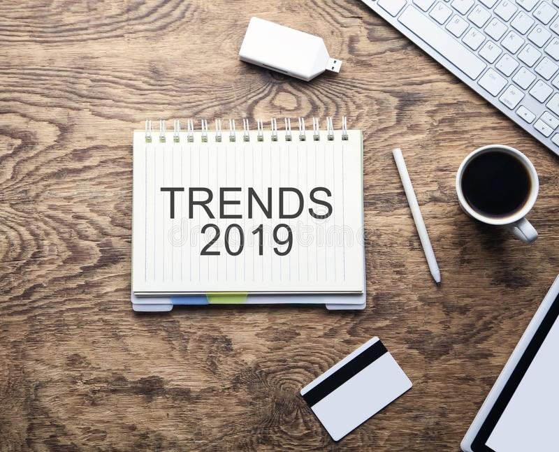 Trends 2019 on notepad. Business concept royalty free stock photo