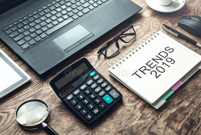 Trends 2019 on notepad. Business concept stock photo
