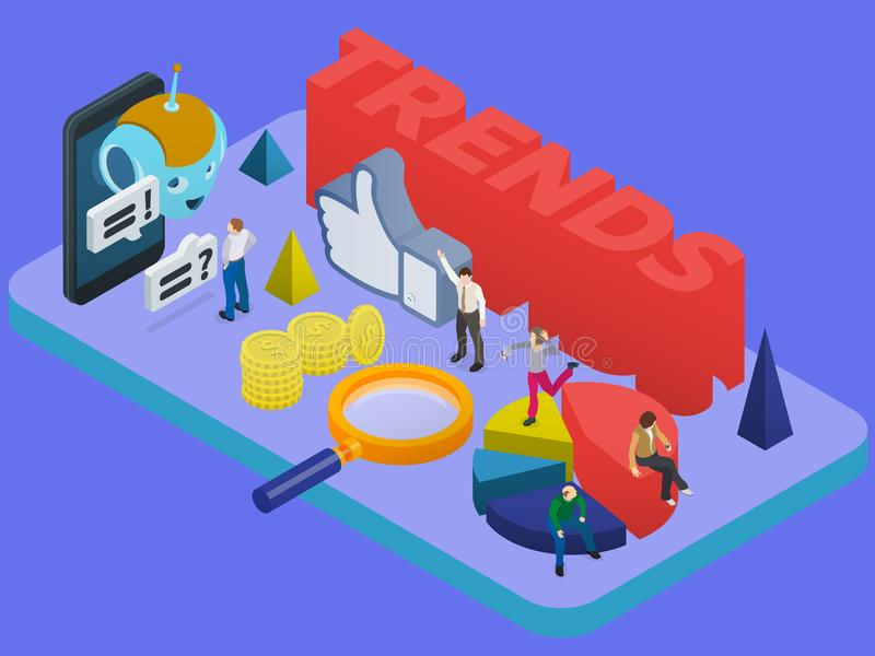 Trends in social networks. Marketing strategy and analytics. Flat 3d isometric banner. Chatbot, video 360 degrees, SMM promotion. royalty free illustration